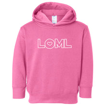 Load image into Gallery viewer, pink LOML hooded sweatshirt for toddlers