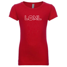 Load image into Gallery viewer, red LOML youth crewneck t shirt for girls