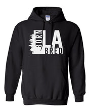 Load image into Gallery viewer, black Los Angeles born and bred hoodie