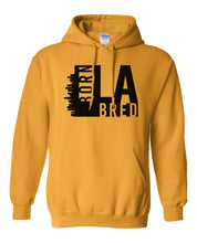Load image into Gallery viewer, gold Los Angeles born and bred hoodie