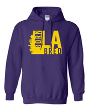 Load image into Gallery viewer, purple Los Angeles born and bred hoodie