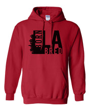 Load image into Gallery viewer, red Los Angeles born and bred hoodie