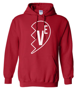 red Love matching couples valentines day hoodie