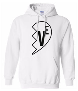 white Love matching couples valentines day hoodie