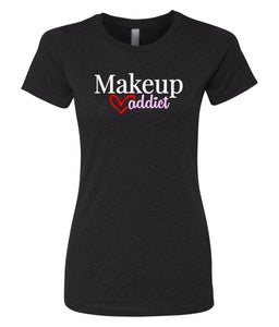 black makeup addict crewneck women's t shirt