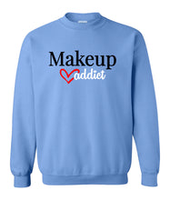 Load image into Gallery viewer, blue makeup addict sweatshirt