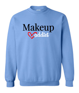 blue makeup addict sweatshirt