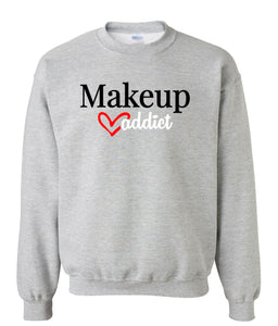 grey makeup addict sweatshirt