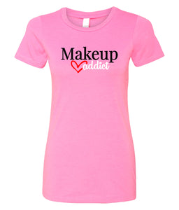 hot pink makeup addict crewneck women's t shirt