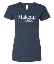 Load image into Gallery viewer, navy makeup addict crewneck women's t shirt