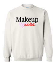 Load image into Gallery viewer, white makeup addict sweatshirt