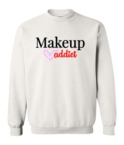 white makeup addict sweatshirt