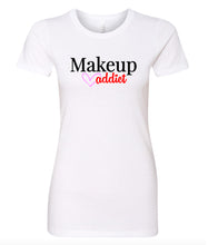 Load image into Gallery viewer, white makeup addict crewneck women's t shirt