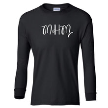 Load image into Gallery viewer, black MHM youth long sleeve t shirt for girls