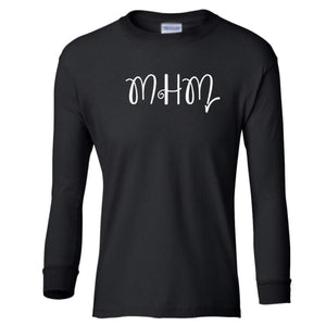 black MHM youth long sleeve t shirt for girls