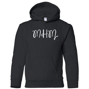 black MHM youth hooded sweatshirts for girls