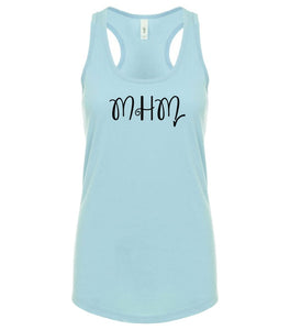 blue MHM racerback tank top for women