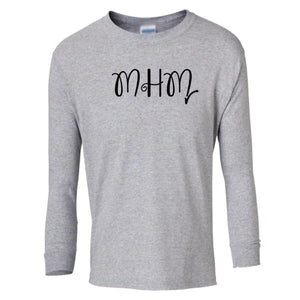 grey MHM youth long sleeve t shirt for girls