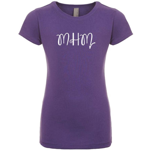purple MHM youth crewneck t shirt for girls