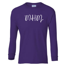 Load image into Gallery viewer, purple MHM youth long sleeve t shirt for girls