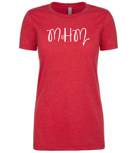 red mhm womens crewneck t shirt