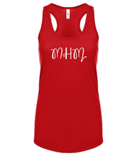 Load image into Gallery viewer, red MHM racerback tank top for women
