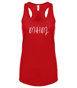 red MHM racerback tank top for women