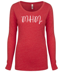 red MHM long sleeve scoop shirt for women