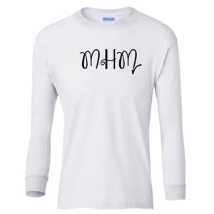white MHM youth long sleeve t shirt for girls