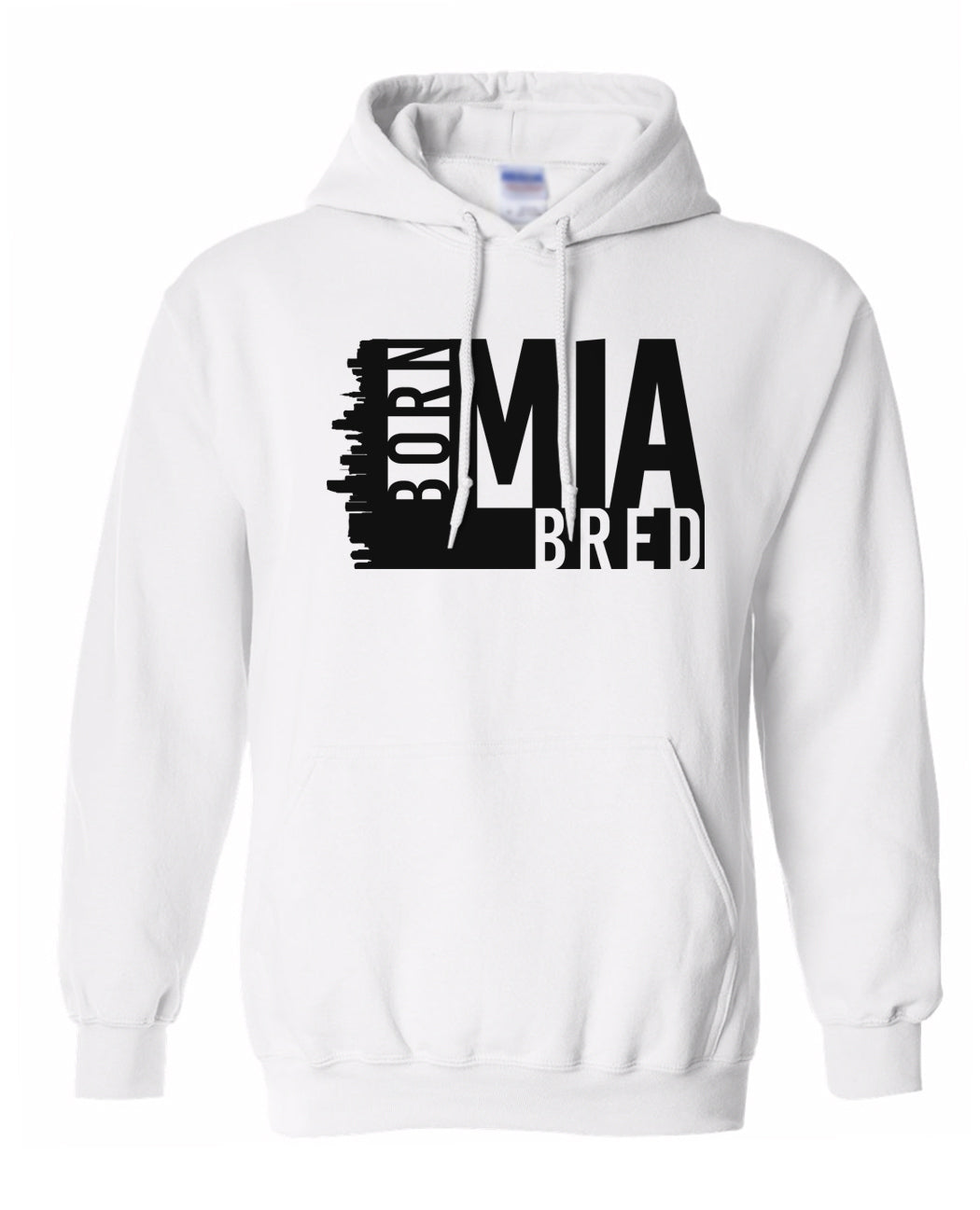 white Miami born and bred hoodie