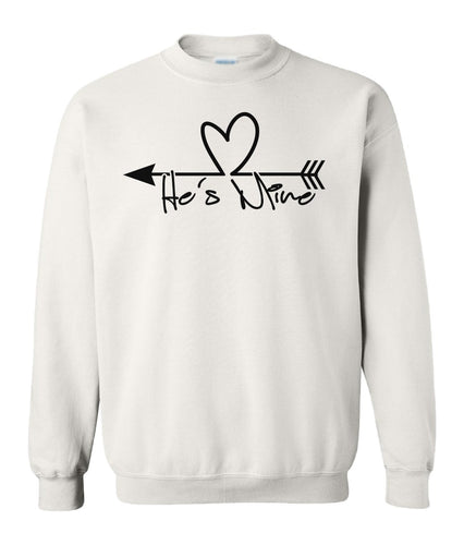 white he's mine valentines day sweatshirt