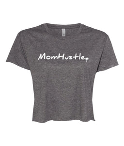charcoal mom hustle crop top t-shirt