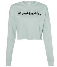 Load image into Gallery viewer, dusty blue mom hustle cropped sweatshirt