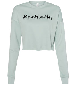 dusty blue mom hustle cropped sweatshirt