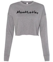 Load image into Gallery viewer, grey mom hustle cropped sweatshirt