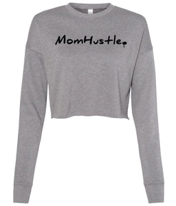 grey mom hustle cropped sweatshirt