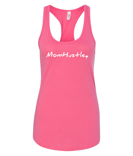 hot pink mom hustle racerback tank top