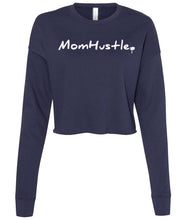 Load image into Gallery viewer, navy mom hustle cropped sweatshirt