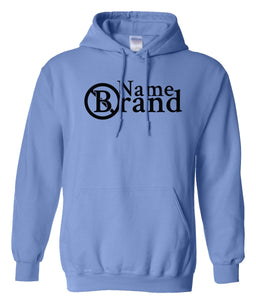 blue name brand pullover hoodie