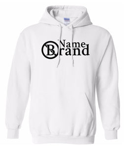 white name brand pullover hoodie