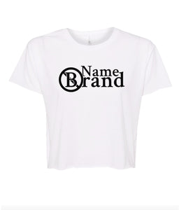 white name brand crop top t shirt