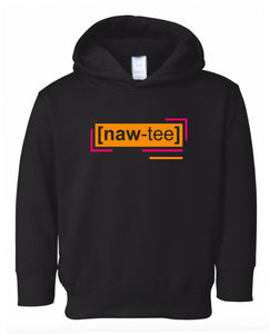 florescent orange naughty toddler neon hoodie