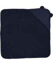 Load image into Gallery viewer, navy hooded baby towel with ears