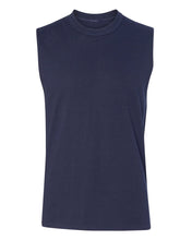 Load image into Gallery viewer, navy men's sleeveless t-shirt