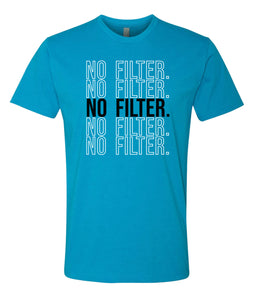 turquoise no filter crewneck t shirt