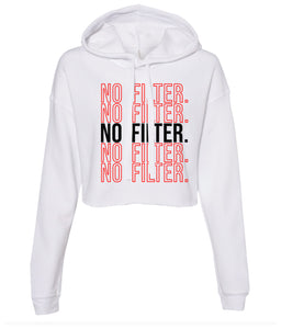 white no filter cropped hoodie