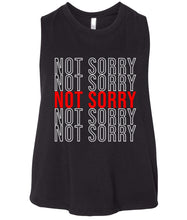 Load image into Gallery viewer, black not sorry cropped tank top