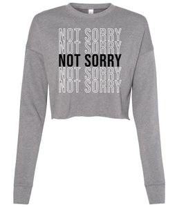 grey not sorry cropped sweatshirt