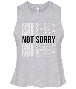 grey not sorry cropped tank top