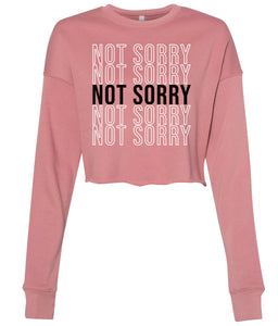 mauve not sorry cropped sweatshirt